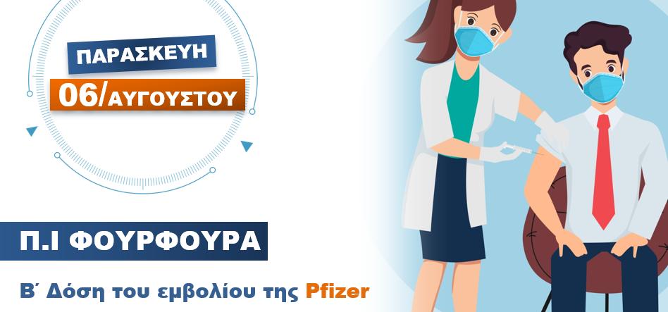 Παρασκευή 6 Αυγούστου η Β΄ Δόση του εμβολίου της PFIZER